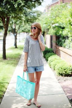 Old Navy Sweetheart Jean Shorts in Sunshine and Terry Drop Hem Ragland Tee