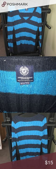 American Eagle blue sweater American Eagle Blue stripped sweater. Size XL. Barely worn. American Eagle Outfitters Sweaters V-Necks