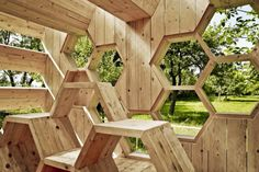 AtelierD's Giant Honeycomb Bee Hotel Attracts Pollinators & Humans Alike K-Abeilles Hotel for Bees-AtelierD – Inhabitat - Green Design, Innovation, Architecture, Green Building