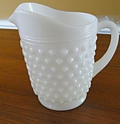 Vintage Milk Glass Pitcher Hob Nail Anchor Hocking