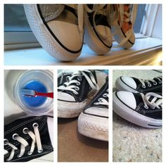 DIY shoe cleaner -baking soda and laundry detergent  First add the baking soda and detergent until it's light/sky blue. Then use an old tooth brush to scrub your shoes. It's best to let it sit for a few minuets before wiping off. You may have to do this once or twice on some scruff marks.