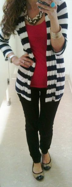 Sweater: Marshalls (from last year) Shirt: ? Pants: Gap Flats: Marshalls Necklace: J.Crew outlet Ring: Bracelets: H Fall Winter Outfits, Autumn Winter Fashion, Winter Style, Work Fashion, Fashion Looks, Fashion Sets, Teen Fashion, How To Wear Cardigan, Dressed To The Nines