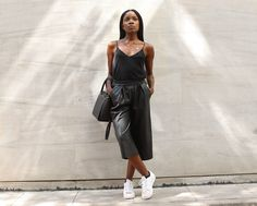 Rachel O. - Obsession: Faux leather Culottes and Adidas sneakers Leather Culottes, Culotte Shorts, Michael Kors Selma, Cami, Ideias Fashion, Adidas Sneakers, Rompers, Blazer, Casual