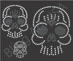 Skull Rhinestone Files Pattern Bling Art Skeleton Head SVG PLT EPS PDF Stone Scalp System Easy