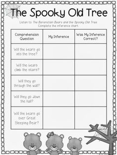 The Berenstain Bears and the Spooky Old Tree: A Free Inference Chart Activity; Great for October