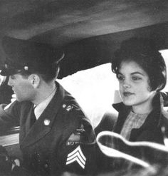 Priscilla Presley and Elvis Presley. This picture was taken, when Elvis was leaving Germany(Army). Priscilla is 14 yrs old here.