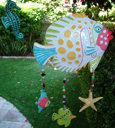 CeramicTropical Fish Hanging Mobile with Driftwood by CDJ4Ceramics, $85.00
