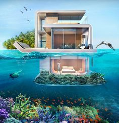 Floating-Seahorse. These are dream (boat)houses near Dubai! An underwater bedroom with an amazing view on the Coral Reef, just awesome!!! There were 42 boats for sale and they are probably all sold by now. I agree that money doesn't make you happy but it sure is a big help to make certain dreams come true ☺