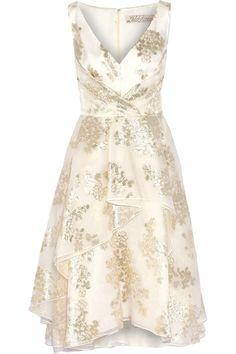 Lela RoseMetallic fil coupé silk-blend dress