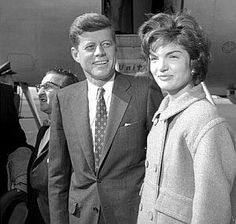 March 6, 1959: JFK, 41, and Jacqueline Kennedy, 29, arriving at airport, Salt Lake City, Utah.  Deseret News.