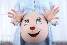 Pregnant Woman Belly Painting: Giant Baby Face