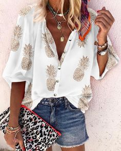 Oversize Blouse Women Spring Autumn Tops Shirt Womens Tops and Blouses Long-Sleeve Pineapple Print Plus Size Blusas 2019 Oversized Blouse, Pineapple Print, Blouse Online, Mode Outfits, Look Chic, Printed Blouse, Plus Size Tops, Blouses For Women, Trending Outfits
