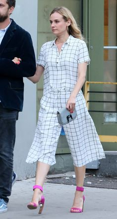Diane Kruger put a posh spin on the cropped trouser and matching top (all from Forever 21!) - Nicholas Kirkwood shoes