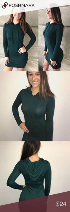 Overprotected Sweatshirt Dress Fitted Hunter Green sweater dress with drawstrings, pocket in front and a hooded back, perfect for the Holidays! Sarah is a size 2 and is wearing a Small. Runs true to size. 60% Rayon 37% Polyester 3% Spandex Forever Unique Boutique Dresses Mini