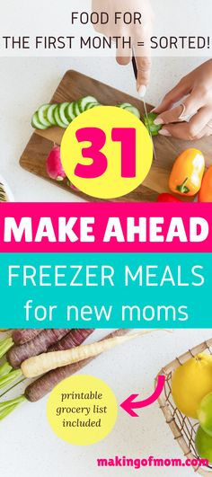 These make ahead freezer meals for new moms will keep you fed for at least the first month (grocery list included). Plan ahead for the first month after your baby is born. You'll thank yourself! The more pre-baby prep you can do the better! Get ready to feel like a rock star mom!