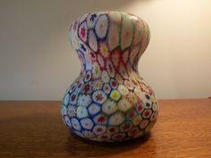 Vintage Venetian Millefiori Art Glass Italian Hand Blown Multi Color Big Bottom Big Mouth Vase