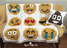 Crochet ** Emoji C2C Graphgan ** With Special Thanks to free patterns by Sarah, Repeat Crafter Me.
