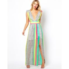 """ASOS Striped Maxi Semi sheer striped maxi with plunge neckline and high slit. Lined. Approx. 58"""" long. Excellent condition. Only worn one time! ASOS Dresses Maxi"""