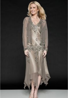 [$259.00] Chiffon and Satin V-Neck A-Line Tea-Length Mother Of The Bride Dress with Matching Jacket