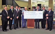 Secretary of State Hargett presents $100,000 check to library building campaign