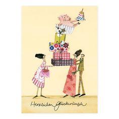 Postkarte mit sich türmenden Geschenken #Grätz #SilkeLeffler Birthday Cards Images, Poster, Illustrations, Greeting Cards Birthday, Ideas For Birthday Cards, Postcards, Pretty Pictures, Painting Art, Illustration