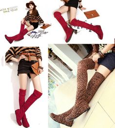 Women Ladies Comfort Flat Heel Thigh High Over Knee Round Toe Boots Shoes 5 Colors