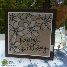 Die heutige Geburtstagskarte für einen ganz lieben Menschen ist ganz schlicht in Neutralfarben gehalten. Die beiden Stempelsets Garden in Bloom undWatercolor Words ergänzen sich supe...