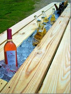 Rain gutter drinks cooler - add a rain gutter to a picnic table