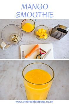 This delicious mango smoothie is a healthy way to start your day.  A really easy way to get some fresh fruit in the morning. Orange Juice Smoothie, Pear Smoothie, Fruit Smoothies, Smoothie Blender, Smoothie Prep, Smoothie Recipes, Fruit And Veg, Fresh Fruit, Fussy Eaters