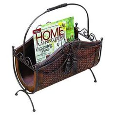 "Iron and rattan magazine rack.   Product: Magazine rackConstruction Material: Iron, rattan and MDFColor: Dark brownDimensions: 15"" H x 19"" W x 8"" D"