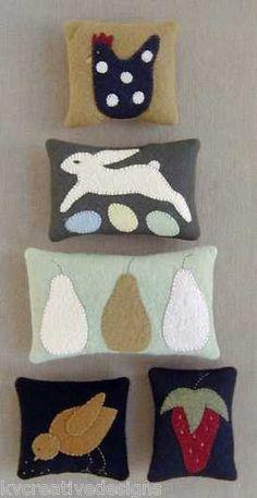 Little Stitches 375 in The Garden Primitive Pin Cushions Pattern Rabbit Chicken | eBay