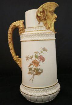 Royal Worcester Porcelain Mask Jug Blue /& WhiteTransfer Printed Vinage