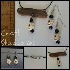 Scull necklace / driftwood necklace / scull earrings set $25.00 craftstudio61.etsy.com