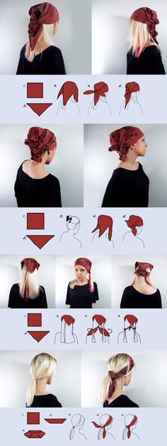 simple ways to wear head scarf . How to wear a scarf on your head – 6 easy, casual ways. The scarf used in examples is a square heavier weight silk scarf called 'Wine red' but you can use pretty much any square scarf to achieve the look. Head Turban, Head Bandana, Short Hair Bandana, Pirate Bandana, Curly Hair Styles, Natural Hair Styles, Head Scarf Styles, How To Wear Scarves, Tie Scarves