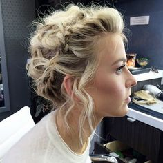 pretty braided, undone updo #hair