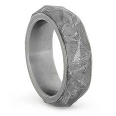 Titanium Angular Cut Meteorite Ring for him
