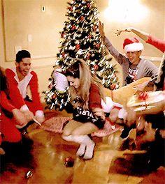 ariana grande santa tell me music video dance party dancing gif