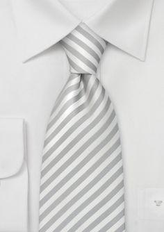 Narrow Striped White Silk Tie