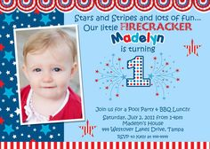 Little Firecracker July 4th Birthday Invitation