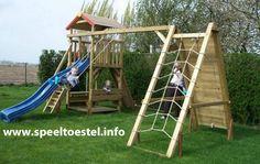 speeltoestel klimtoestel met speelhuis schommel en glijbaan