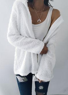 Fall / winter fashion white fluffy cardigan
