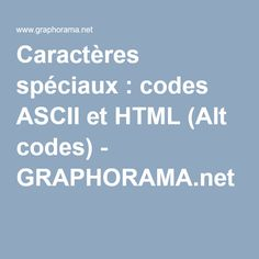 Caractères spéciaux : codes ASCII et HTML (Alt codes) - GRAPHORAMA.net