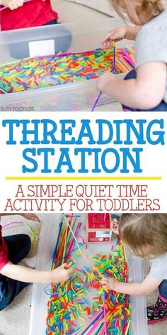 Threading Station: Quiet Time Activity - Busy Toddler - Check out this THREADING STATION! An awesome quiet time toddler activity that's perfect for indoor days. An easy indoor activity for toddlers that also doubles as sensory and fine motor skills play! Indoor Activities For Toddlers, Quiet Time Activities, Motor Skills Activities, Toddler Learning Activities, Infant Activities, Fine Motor Skills, 2 Year Old Activities, Children Activities, Playgroup Activities
