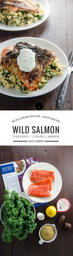 #sponsored Come on into our kitchen while we try Blue Apron, and get $30 OFF your first order. Plus a fabulous, easy recipe for Wild Salmon with Freekeh, Kale and Lemon Labneh. via @umamigirl