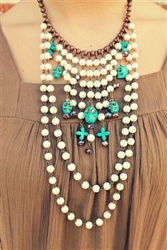 Pearl Sugar Skull Charm Necklace $59.99! #SouthernFriedChics