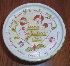 Keyser Pottery Redware Sgraffito Childs Plate Dated 1943 Plymouth Meeting PA   eBay