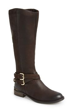 Steve Madden 'Avilla' Riding Boot (Women) at Nordstrom.com. Soft, burnished leather shapes a timeless riding boot detailed by goldtone hardware and a stacked heel. Sure to become an instant favorite in your shoe collection, complete your cold-weather ensemble with a pair of these beauties for a polished and up-to-date look.