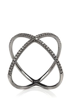 X Ring In 18K White Gold With Diamonds by Eva Fehren