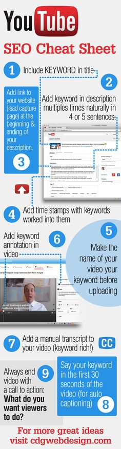 Infografía de cómo conseguir el máximo de tu Youtube vídeos con SEO. youtube SEO cheat sheet infographic -- make those youtube videos work for you!