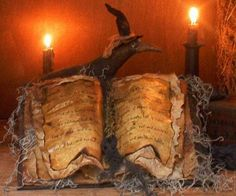 Halloween-Craft idea-spell book: this would be so easy to do with tea staining, burnt edges and an old anatomy text book! Halloween Prop, Dulceros Halloween, Halloween Spells, Halloween Books, Halloween Projects, Holidays Halloween, Halloween Decorations, Halloween Express, Halloween Apothecary